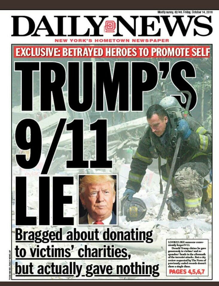 #NeverForget that @realDonaldTrump lied about donating to charities to support the victims and families affected by #September11th. He made no donations.