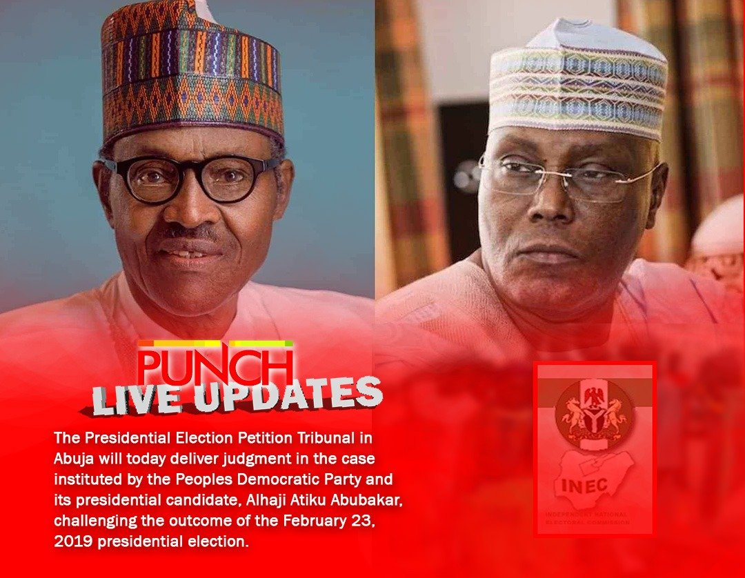 [LIVE UPDATES] Buhari vs Atiku: Tribunal ruling on 2019 election 10:13 am: The second ruling is on another motion filed by INEC on April 25. The application by INEC seeks among others, the striking out of: 1. The petitioners' list of documents relied on by the petition... <br>http://pic.twitter.com/HICMmHUw04