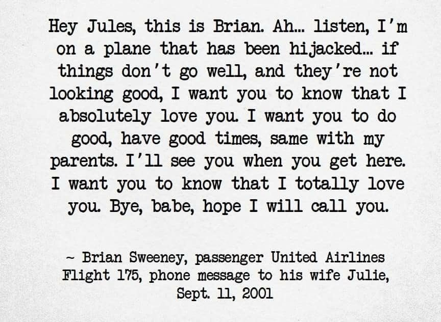 Over the years, I've found this voicemail reminds me of the horror of 9/11. And it never gets any easier to read.  #NeverForget #WakeUpCLT <br>http://pic.twitter.com/qB6dn2JP2A