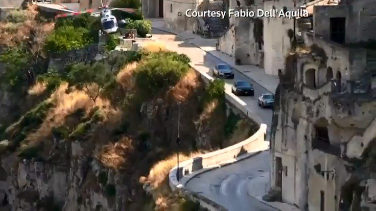 Footage shows car-chase sequences on the set of the new James Bond movie 'No Time to Die' in Italy
