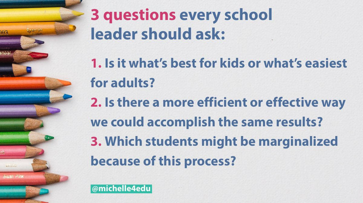 The common answer to the first one will surprise you, the solution to the second one usually involves collaboration, the answer to the last one may change in each situation.  #WednesdayWisdom #WednesdayThoughts #edleaders #edchat #weclimbtogether #Area2forLife<br>http://pic.twitter.com/e3lAKOj09G