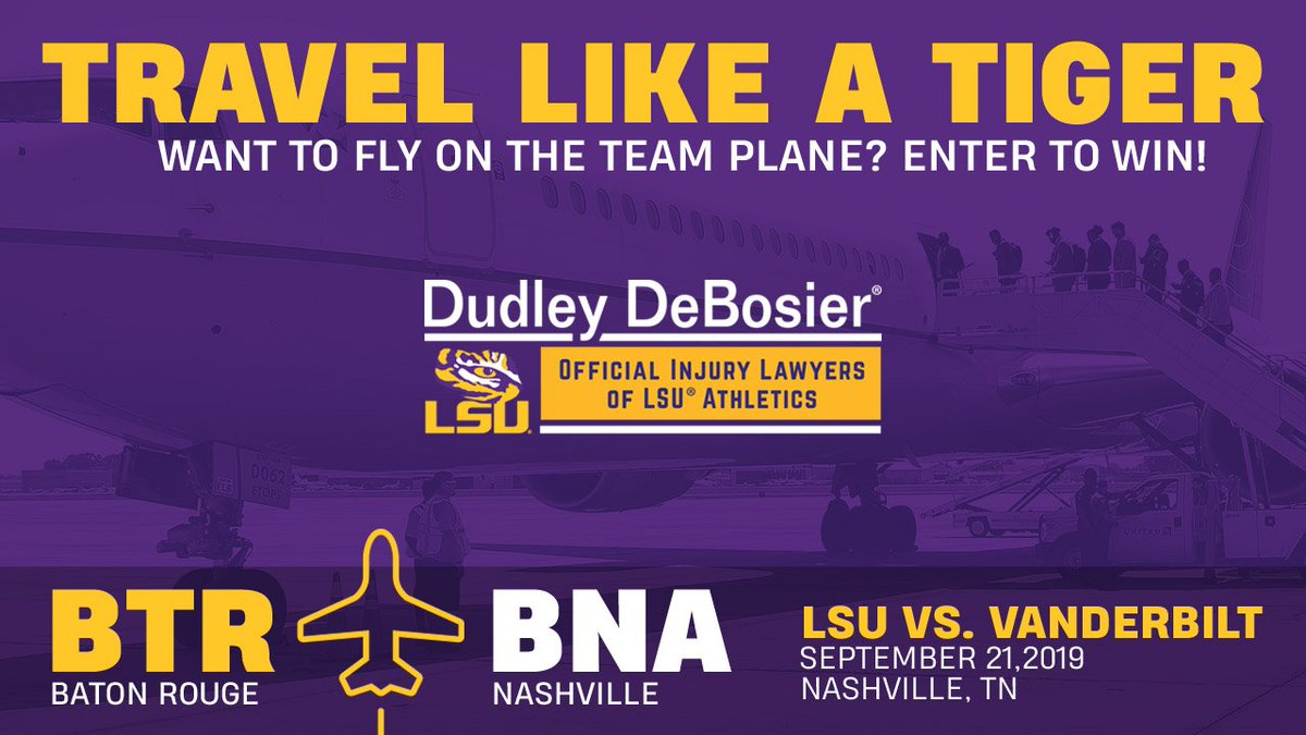 Travel Like a Tiger! Enter to win two seats on the LSU team plane, hotel room, dinner on Friday night, tailgate passes and tickets to the game! 🔗 lsul.su/LSUTrip lsul.su/LSUTrip
