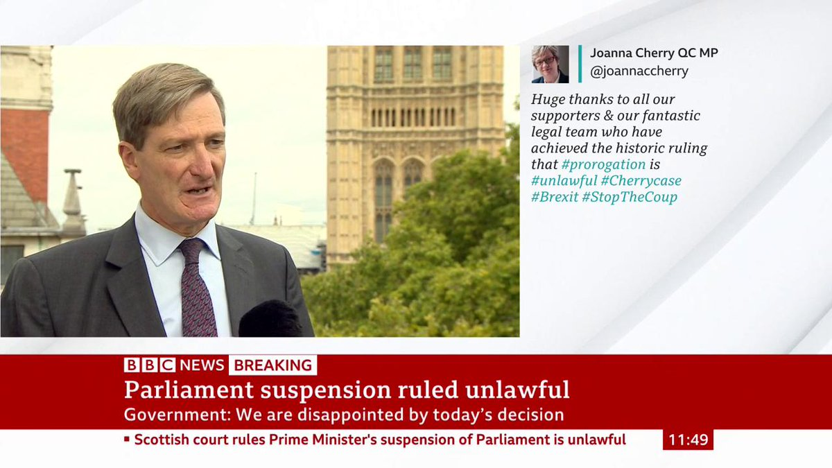 """""""Boris Johnson will find himself in an untenable position in Parliament... every member that believes in our constitution would simply say, it's over""""Former Tory Dominic Grieve says the PM must resign if he misled the Queen about suspending Parliamenthttp://bbc.in/2UKB8hT"""