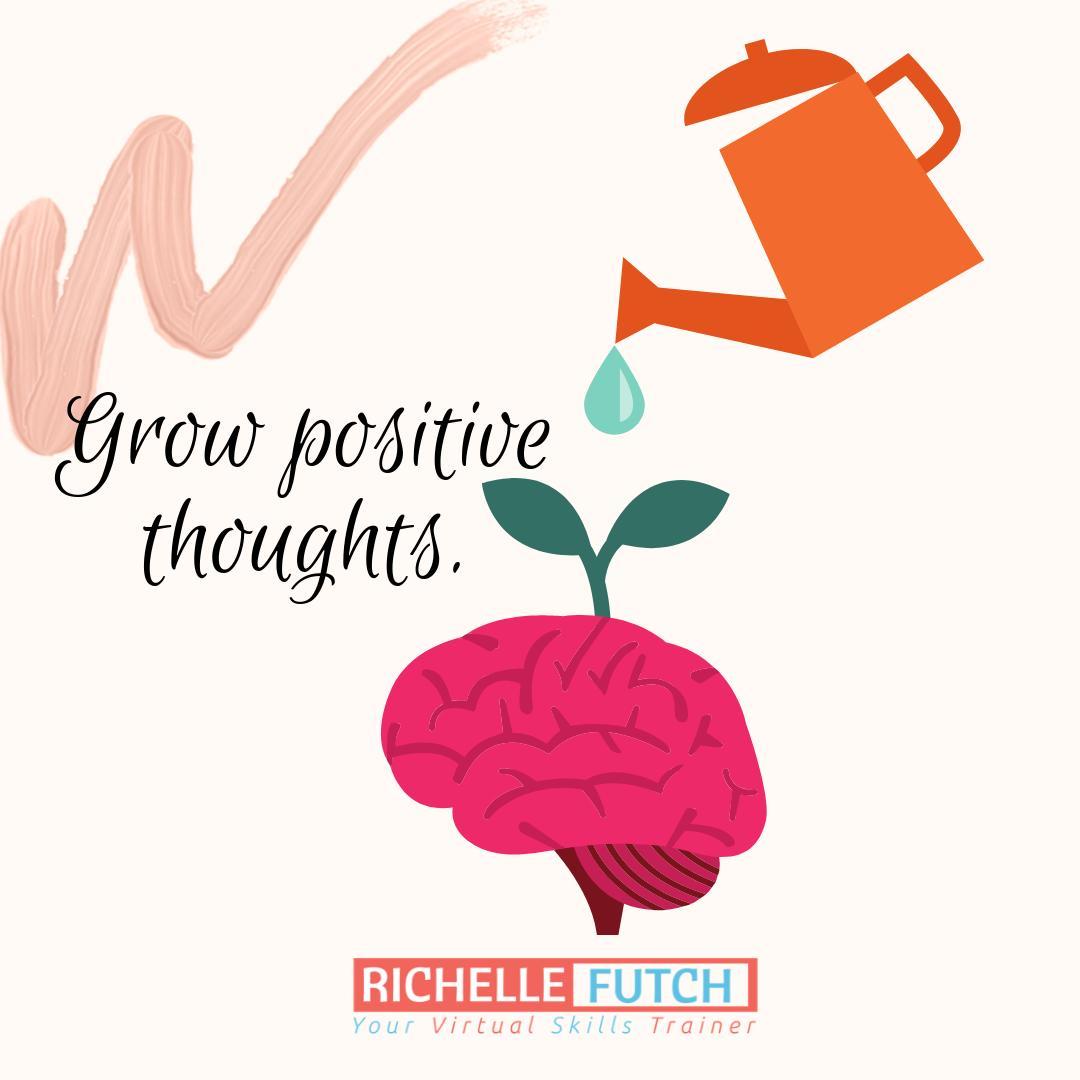 Grow positive thoughts.  #RichelleFutchMSW #DBT #dailyaffirmation #mentalhealth #quotes #inspiration #mentalhealthawareness #bravenotbroken #wordstoliveby #quotesforlife #motivational #qotd<br>http://pic.twitter.com/05U9fdRlOZ