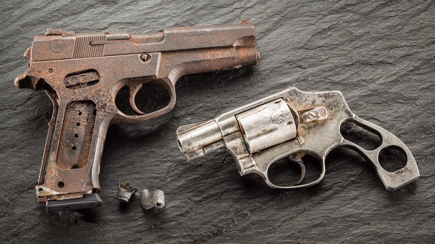 These two hallowed #handguns, found in the rubble of the 9/11 ruins, are a reminder that #freedom is not free.  —  http:// ow.ly/adCC50w5eW5     — #NRA #NeverForget #Remember911 #FirstResponders<br>http://pic.twitter.com/AoDG0nzodN