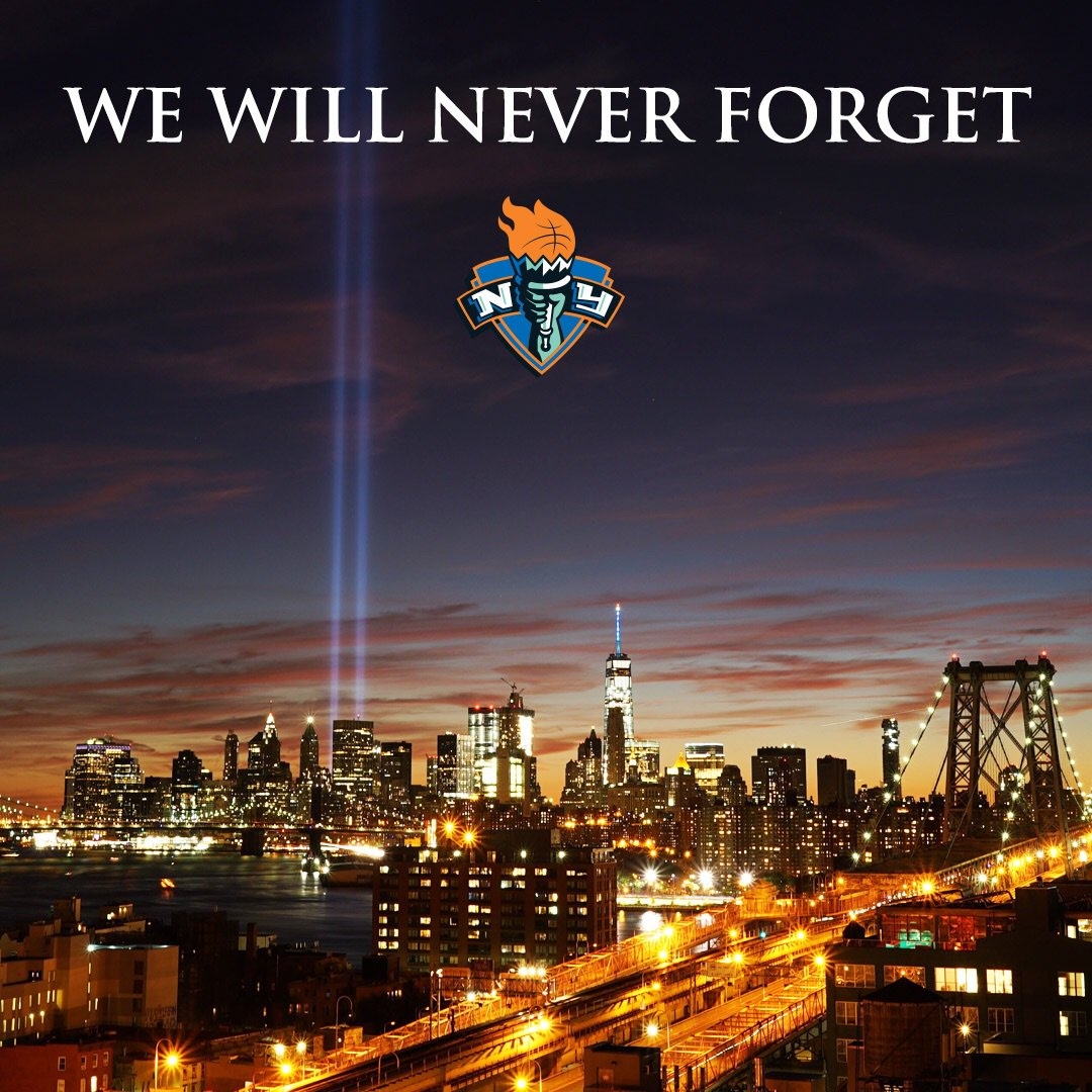 United we stand in remembrance of the heroes and victims we lost on 9.11.01. #NeverForget🇺🇸🗽