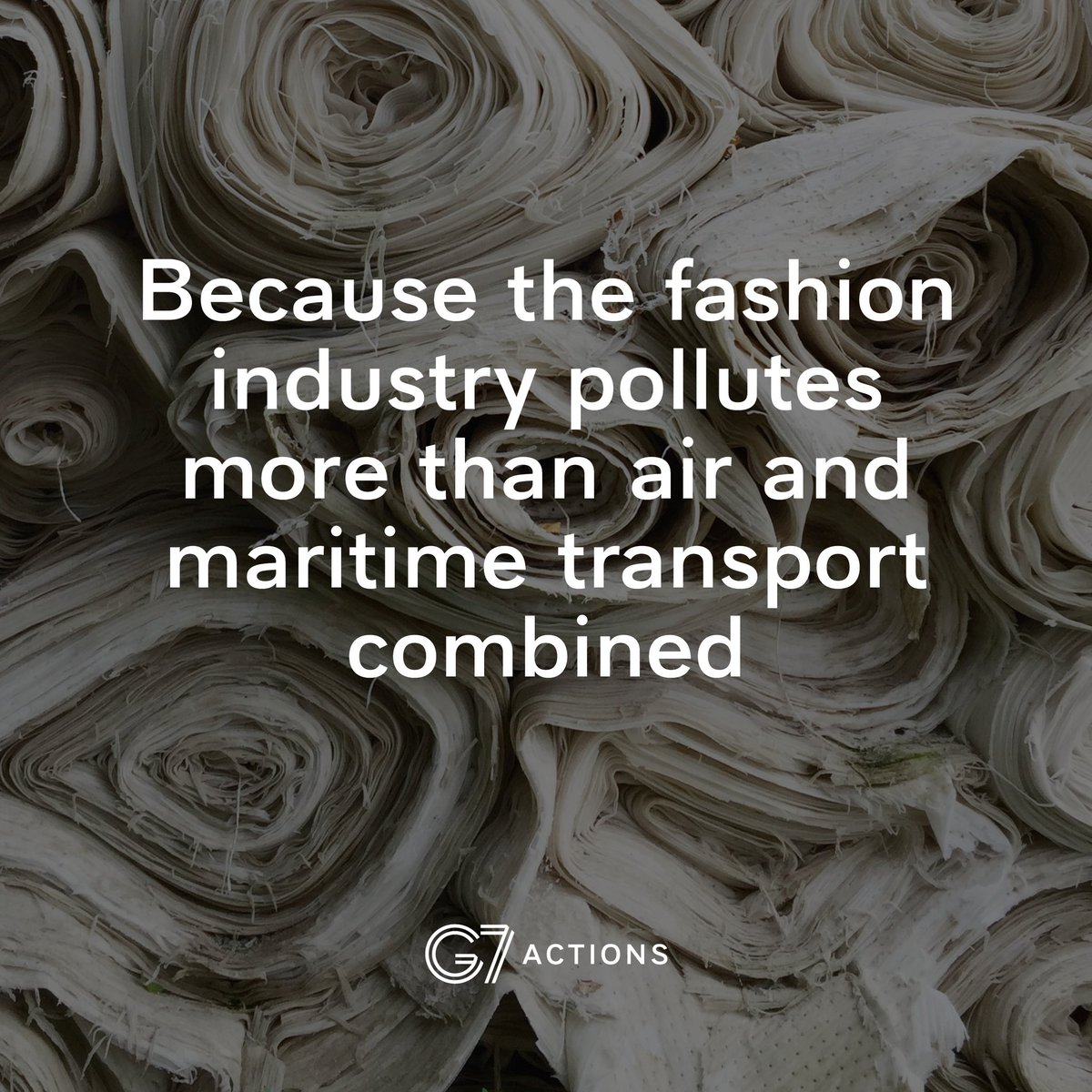 The fashion industry is second only to the petrol industry in terms of pollution.  Making a pair of jeans requires 11,000 litres of water – the equivalent of 285 showers.  The goal of the #FashionPact is to make the fashion industry more sustainable. #G7Biarritz <br>http://pic.twitter.com/Thx11uhD9w