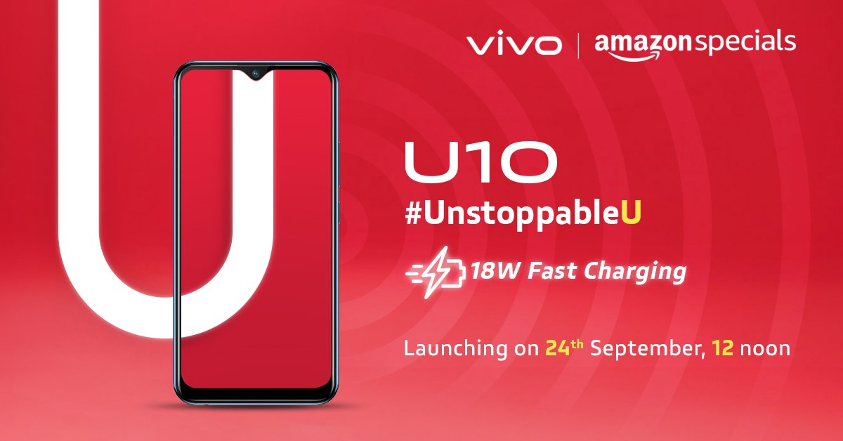 Unmatched & Uncompromising like U. Embrace speed with the all-new #vivoU10 with 18 Watt Fast Charging, created for the #UnstoppableUCatch the launch LIVE on 24th September, 12 PM. Know more on @amazonIN : https://amzn.to/2mbgYQP or vivo: http://bit.ly/svivo_U10