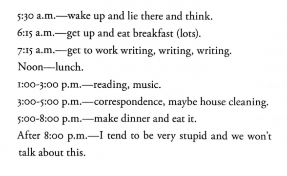 Ursula K. Le Guins writing schedule = best writing schedule