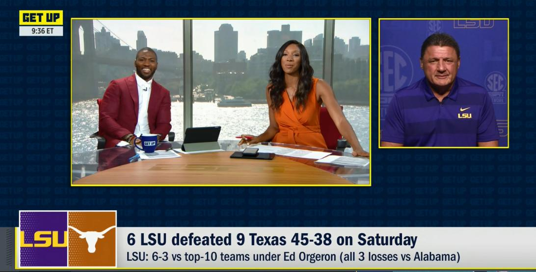 Lots of @LSUfootball on @GetUpESPN this morning, incl a visit from Coach O, who gives Tigers alum @Realrclark25 a little pep talk to end his visit.