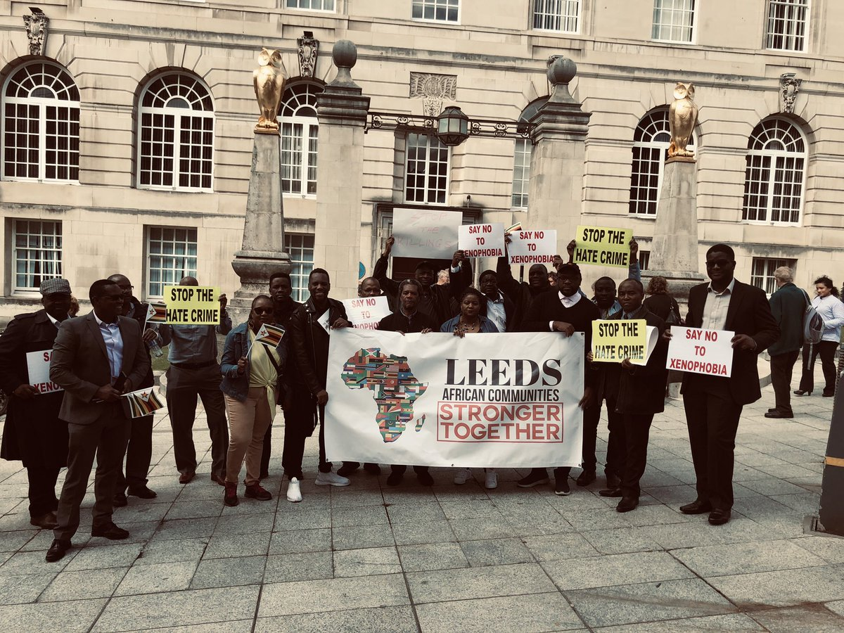 Huge thank you to all who came out to show solidarity with us today from the diverse African communities in Leeds. To my colleagues from the Council and Ola who travelled from Teeside just for an hour with us, we say THANK YOU 🙏Our voices will not be silenced. #stopthekilling