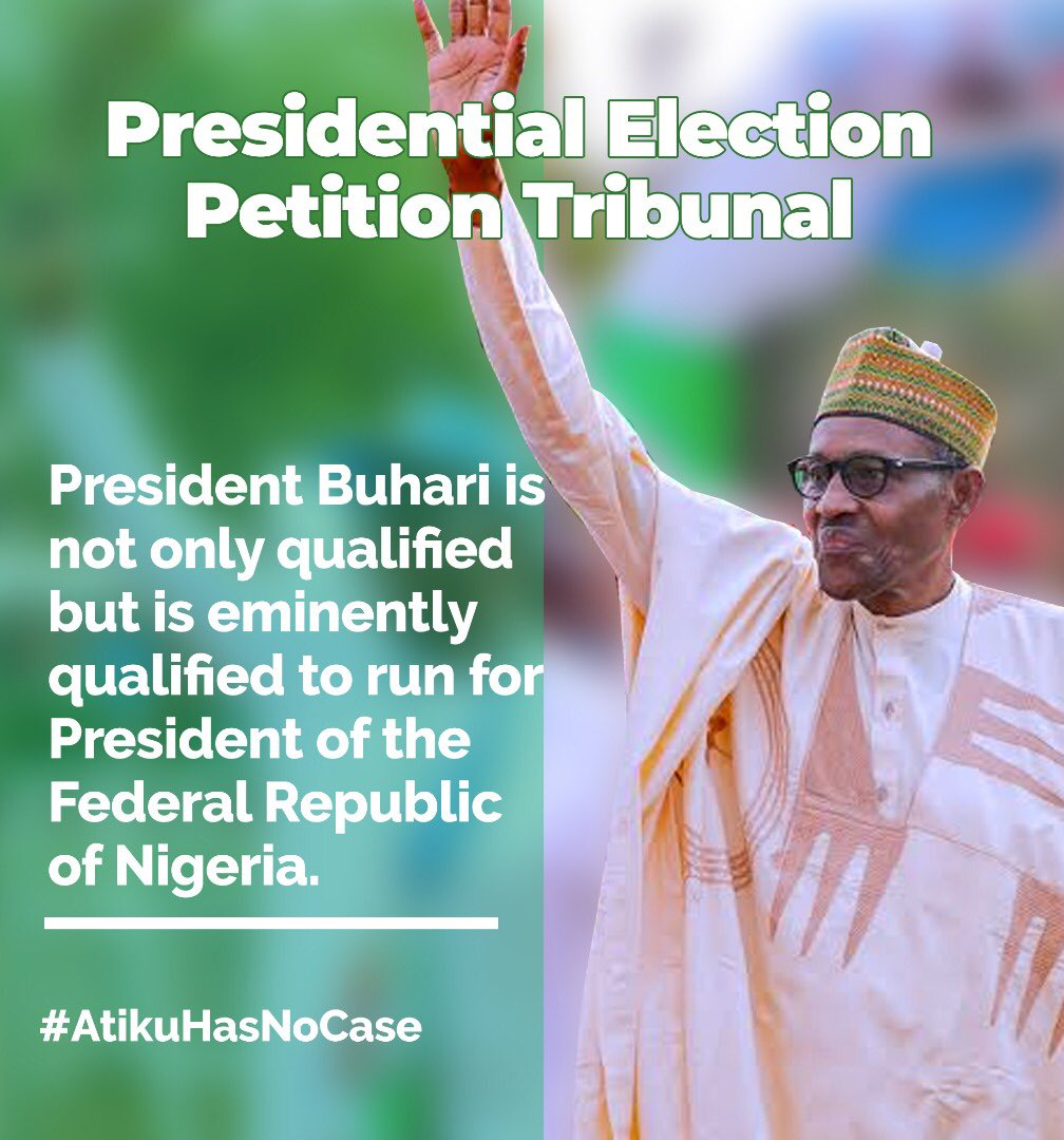 "BREAKING!!! Incase you didnt hear when PEPT affirmed it, let me repeat it boldly for y'all, ""PRESIDENT @MBuhari WAS QUALIFIED ENOUGH TO RUN FOR THE 2019 ELECTION"" and that it deludes common sense to think He doesnt have a certificate. #PEPTSAVENIGERIA #PEPTJudgement #AtikuBusted<br>http://pic.twitter.com/u33xSHA0xV"