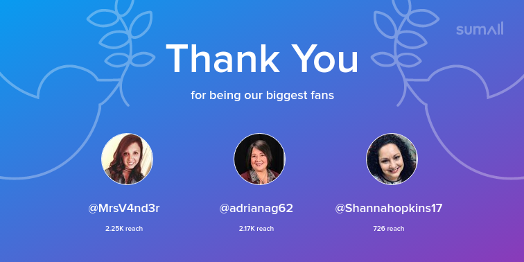Our biggest fans this week: MrsV4nd3r, adrianag62, Shannahopkins17. Thank you! via sumall.com/thankyou?utm_s…