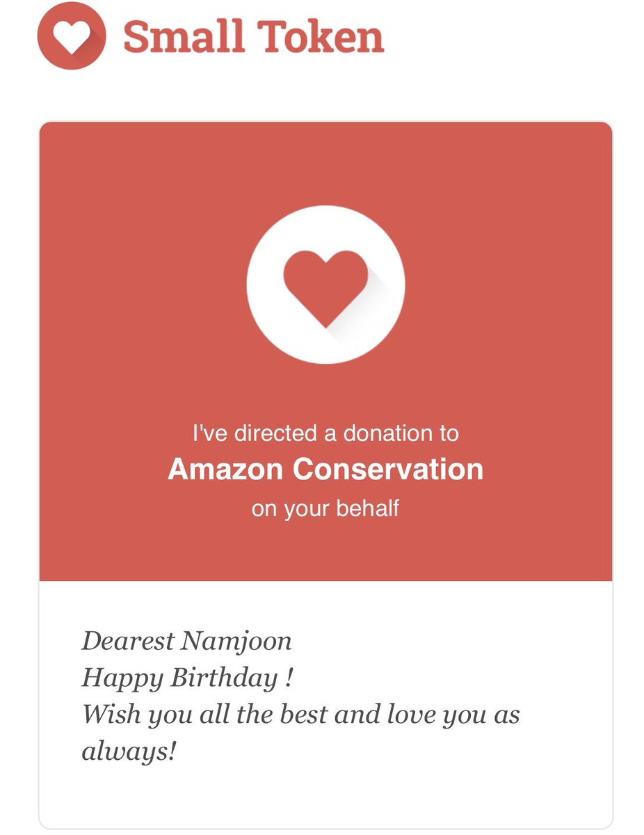 In order to celebrate Namjoon birthday I've made a donation to Amazon conservation. Even it's not a big amount, Hope it will help our   #HappyNamjoonDay #NAMJOON #PrayforAmazonas <br>http://pic.twitter.com/L8HBGTx0HB