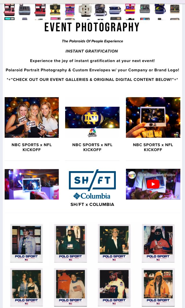 In the last few months, NBC SPORTS, COLUMBIA, POLO RALPH LAUREN, BOOK PolaroidsOfPeople.com/events