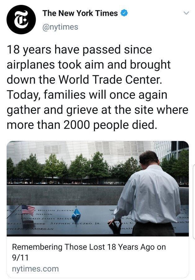 "In this now-deleted tweet, the New York Times attempts to blame 9/11 on the AIRPLANES that ""took aim"" and ""brought down"" the World Trade Center. What lengths they will go to to divert attention from who actually did this!"