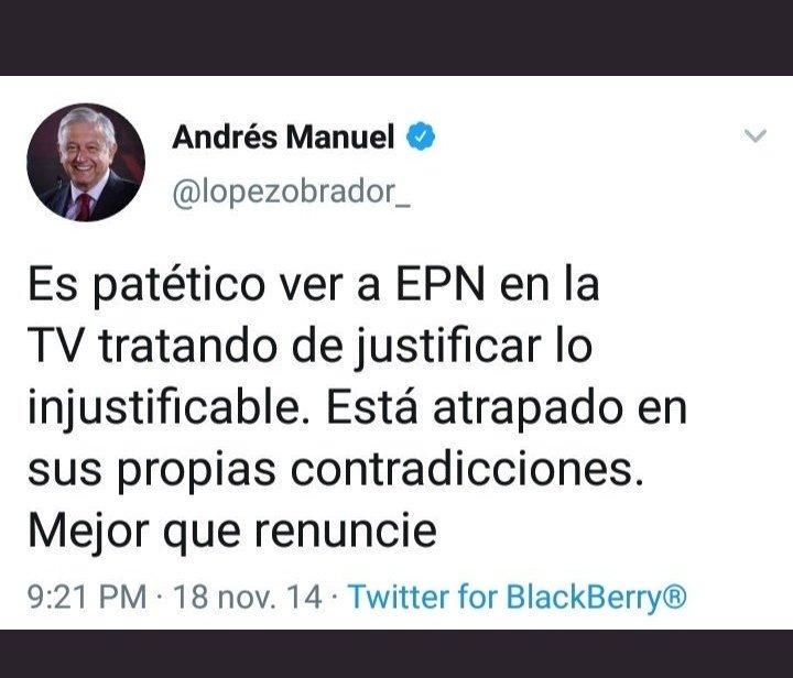 Patético ver a @lopezobrador_ en sus mañaneras tratando de justificar lo injustificable con @ManuelBartlett @DrJMMireles y @RicardoBSalinas Está atrapado en sus propias contradicciones, tanto así que su falsa honestidad se le desvanece.