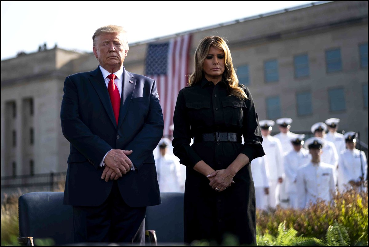 . @realDonaldTrump & @FLOTUS participate in a moment of silence at the September 11th Pentagon Observance Ceremony at the Pentagon. #911Anniversary