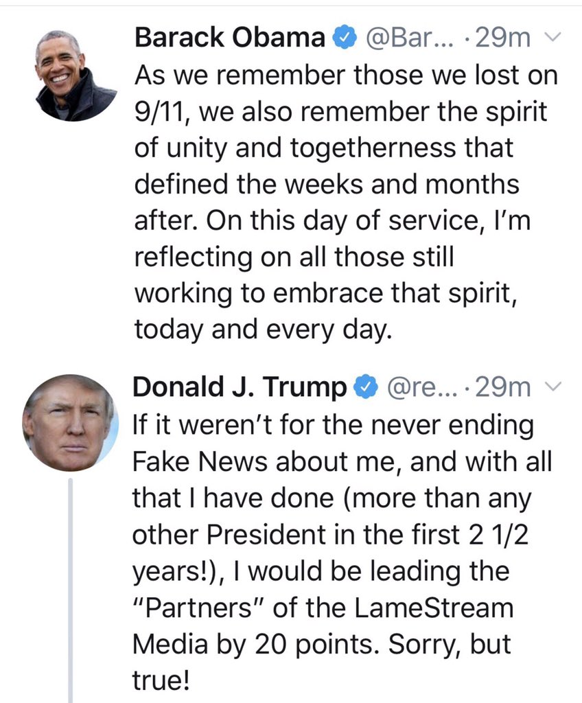 A Tale of Two Tweets... #911Anniversary #ObamaOutdidTrump <br>http://pic.twitter.com/X34TBlRn9W