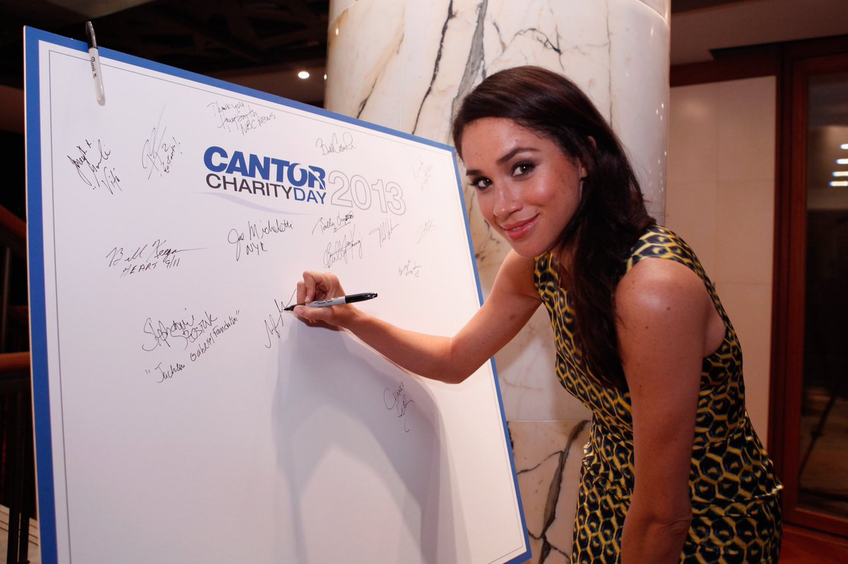 On 11 September 2013, Meghan volunteered as a fundraiser at the Annual Charity Day hosted by Cantor Fitzgerald and BGC.