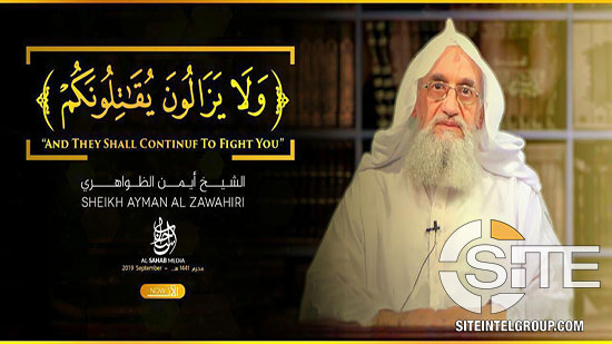 """1) #alQaeda releases video speech of leader Ayman al-Zawahiri commemorating #911 attacks, titled, """"And They Shall Continue to Fight You."""" Zawahiri uses #Israel as a launchpad to call for attacks on US, French, British, & other Western interests & alliances  https:// ent.siteintelgroup.com/Statements/aq- leader-zawahiri-calls-for-attacks-on-american-european-israeli-and-russian-interests-in-video-commemorating-18th-anniversary-of-9-11.html  …  <br>http://pic.twitter.com/7jztFV8w8e"""