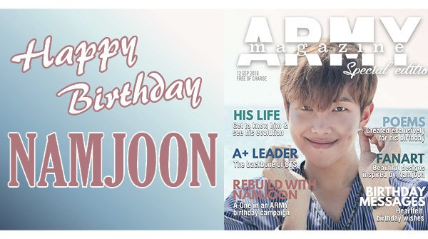Happy Birthday to the amazing leader of @BTS_twt, Kim Namjoon!🎉🎉 Check out the special edition we released to celebrate RMs birthday last year!👉bit.ly/AMagRMSpecial #HappyBirthdayRM #HappyRMday #OurJooniverse #MoonchildDay #HappyBirthdayNamjoon twitter.com/bts_bighit/sta…