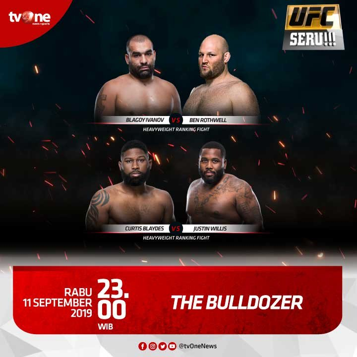 "Nantikan pertandingan menarik dan seru di UFC Seru!!! ""The Bulldozer""Rabu, 11 September 2019 jam 23.00 hanya di tvOne & streaming tvOne connect, android http://bit.ly/2EMxVdm & ios http://apple.co/2CPK6U3#UFCSeru #TheBulldozer"