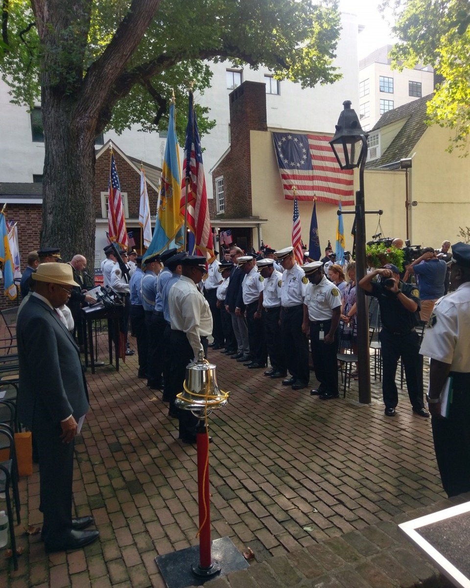 The Betsy Ross House held the annual September 11th Ceremony in the courtyard earlier this morning. We remember the first responders and the Americans who died in the attacks. Thank you to the speakers and to Councilman Oh for delivering the citation! #Remember911 #NeverForget<br>http://pic.twitter.com/Yr4fQVgTas