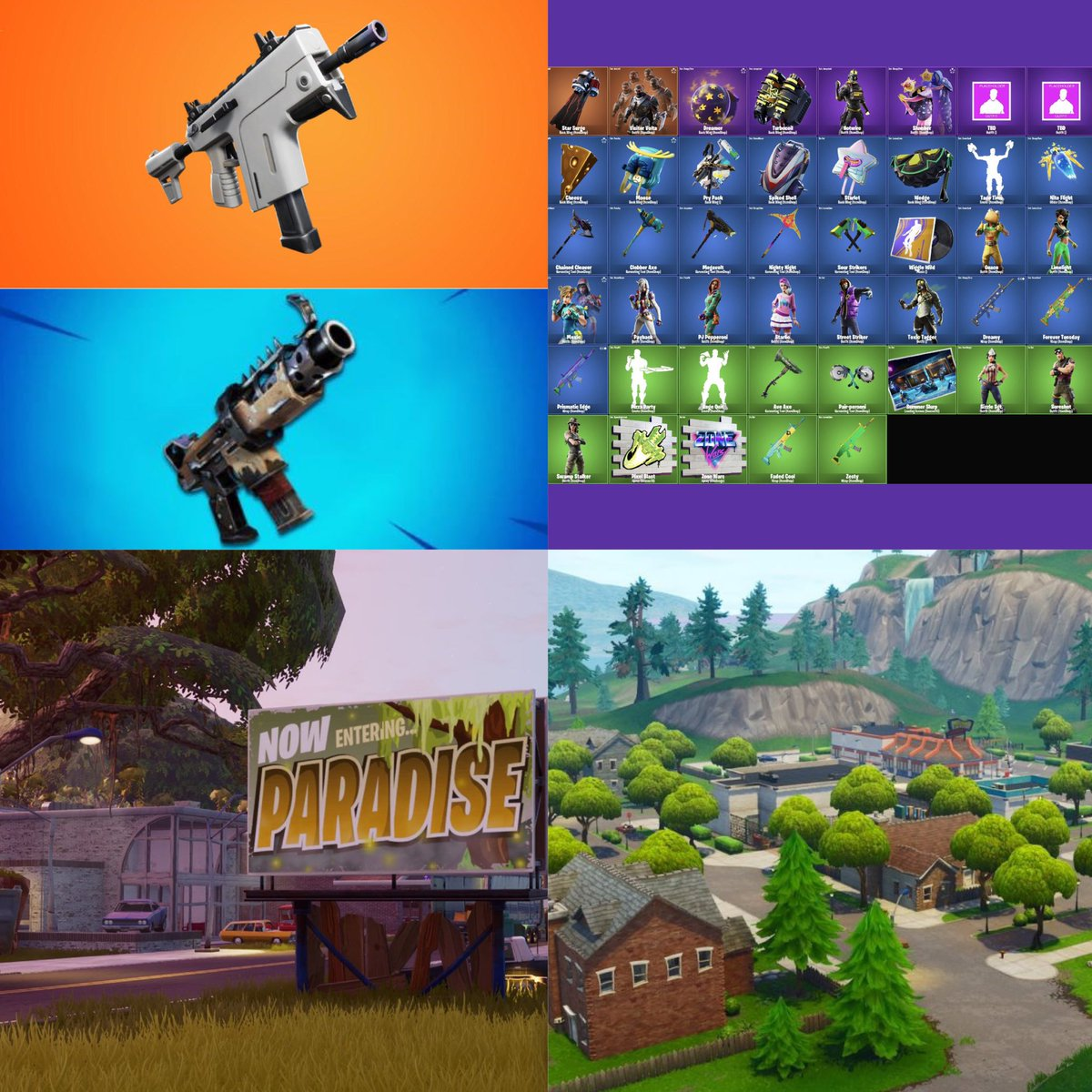 Fortnite V10.30 Patch Highlights:-Burst SMG out, Tac SMG BACK-TONS of new leaked cosmetics-Paradise Palms is now... Moisty Palms? -GREASY GROVE IS BACK(Leaks h/t @HYPEX @KrispyLeaks)