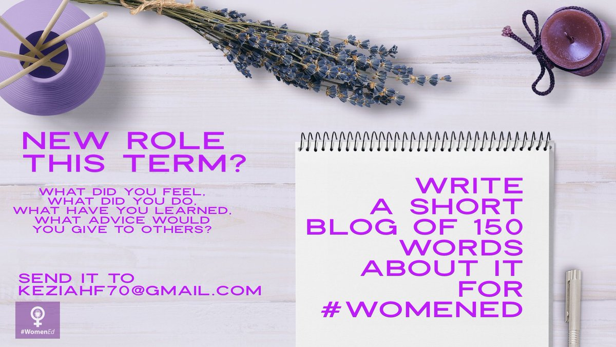 @charlottewhela Many congratulations on your new role, Charlotte. 🙋💁💁 Fancy writing a short blog for #WomenEd?