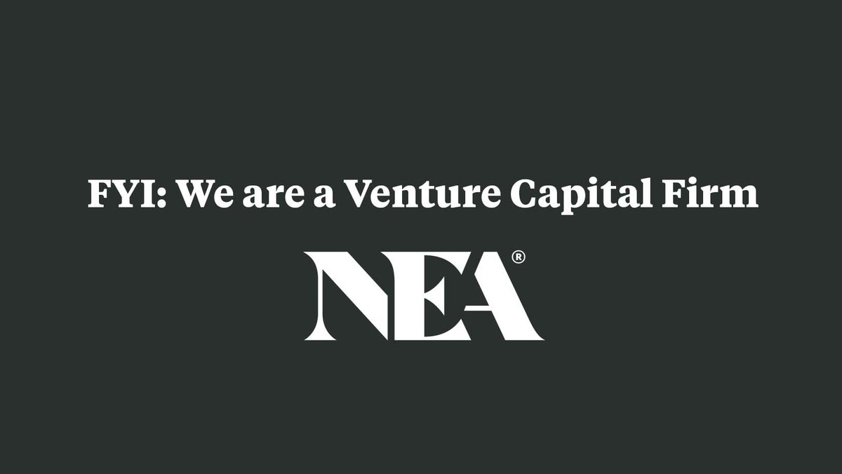 We are NEA—the #venturecapital firm. We partner with talented founders building transformative companies.  We are NOT: the National Education Association the National Endowment for the Arts the National Environment Agency ETC.  Practice responsible @ tagging. 🤗
