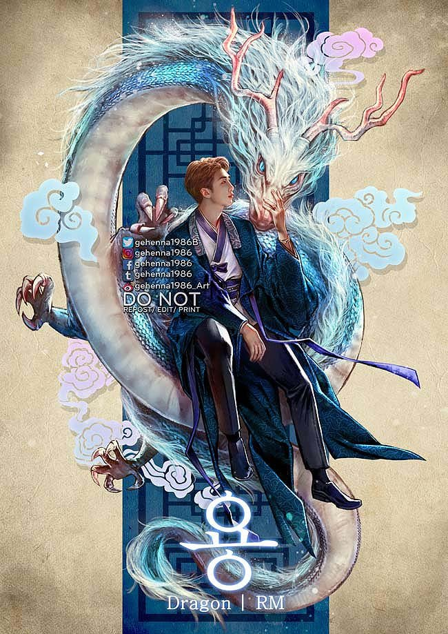 #BTSFantasticBeasts 1/7  RM - Yong 용 (Dragon) Yong are legendary creatures in Korean mythology & folklore. They're peaceful& wise creatures. They're primarily benevolent beings related to water & agriculture, often considered bringers of rain & clouds. #HAPPYRMDAY #RM #BTSfanart <br>http://pic.twitter.com/exhoHWWemr
