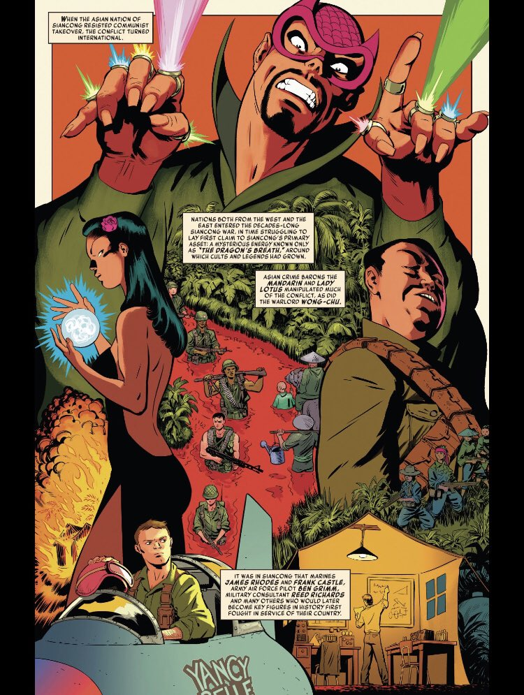 """totally gr8 timing for Marvel Comics to replace real wars with fake ones that are still chock full of yellow peril racist stereotypes """"Siancong"""" replacing Vietnam, really??? 🙃"""