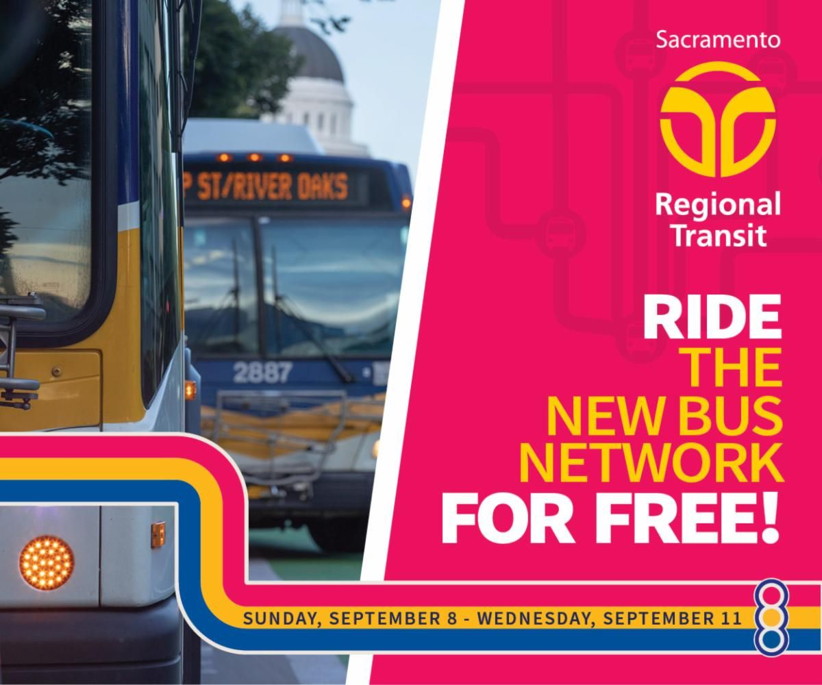 Today is the last day to try out the new bus network! SacRT is offering free rides on all buses between September 8 - 11 (the first four days of service changes). Be sure to tell a friend, neighbor or family member about SacRT's new bus network for a FREE Ride. Ends Today!! https://t.co/zpkL9QeNfl