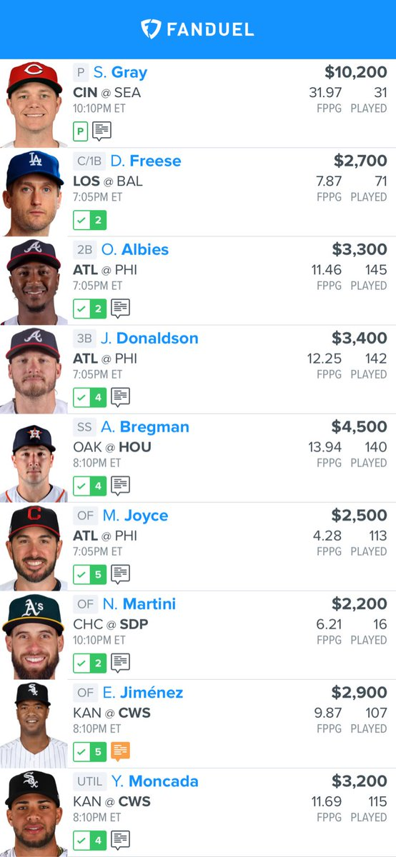 This is what I am using today love Sonny Gray and like attacking Philly today!! Let's make some money💰💰💰