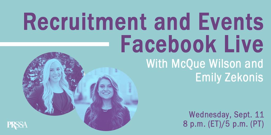 Tune in tonight for a special #FacebookLive with @mcquewilson and @emilyzekonis as they discuss best recruitment tactics and events for your Chapter. It'll be happening at 8 p.m. (ET)/5 p.m. (PT). Don't miss out!