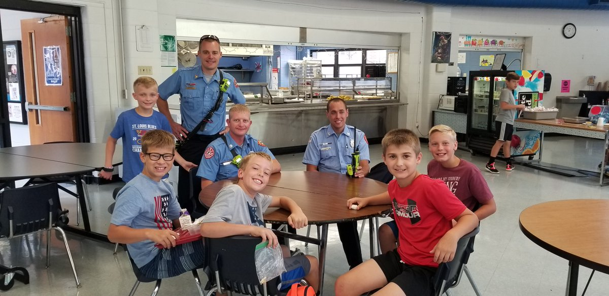 Thank you Antonia Firefighters for stopping by and visiting our students at lunch today! #Bullpride
