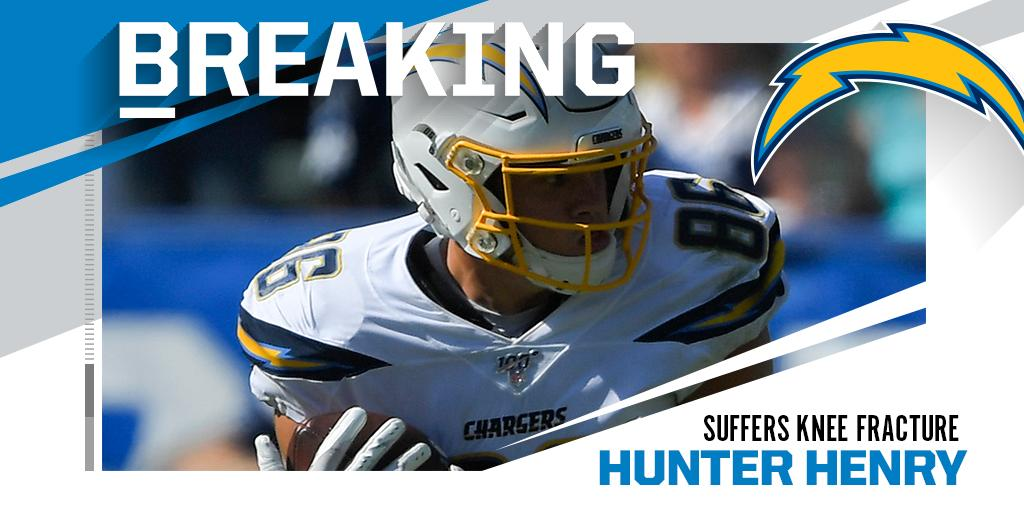 .@Chargers TE Hunter Henry out indefinitely with fractured left knee.