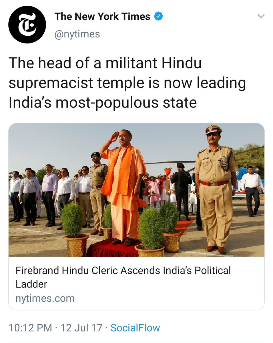 Yogi becomes CM New York Times: Head of a militant Hindu supremacist temple is leading India's most-populous state  19 Jihadis attack the Twin Towers New York Times: Airplanes took aim and brought down the World Trade Center  #September11 #NeverForget #NeverForget911<br>http://pic.twitter.com/0oTbDJahu6