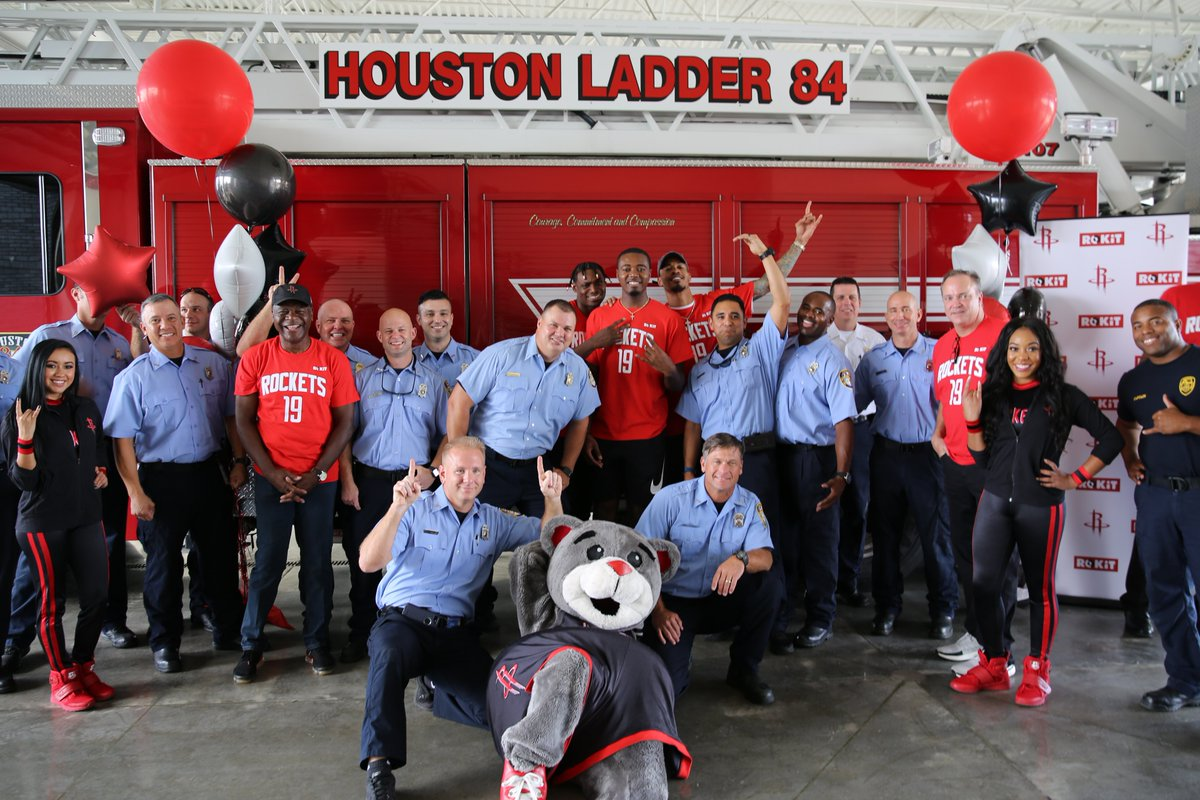 Rockets and Toyota Center staff, along with @rokit, visited 94 Houston area fire stations to distribute tickets to an upcoming Rockets game along with customized t-shirts and food courtesy of @ChickfilA.  #RocketsGiveBack
