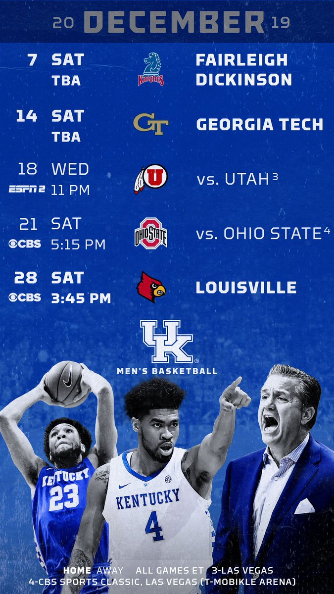 Uk Basketball Schedule 2020.Kentucky Basketball On Twitter Wallpapers By Month For The
