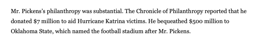 maybe this isn't the time but this sentence in T Boone Pickens' obit was hilarious.
