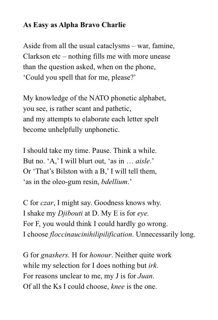 Brian Bilston A Twitter Here S A Poem About My Uselessness In Providing Good Phonetic Examples When Asked To Spell Words Over The Phone It S Called As Easy As Alpha Bravo Charlie Https T Co Xdhl4gdm8p
