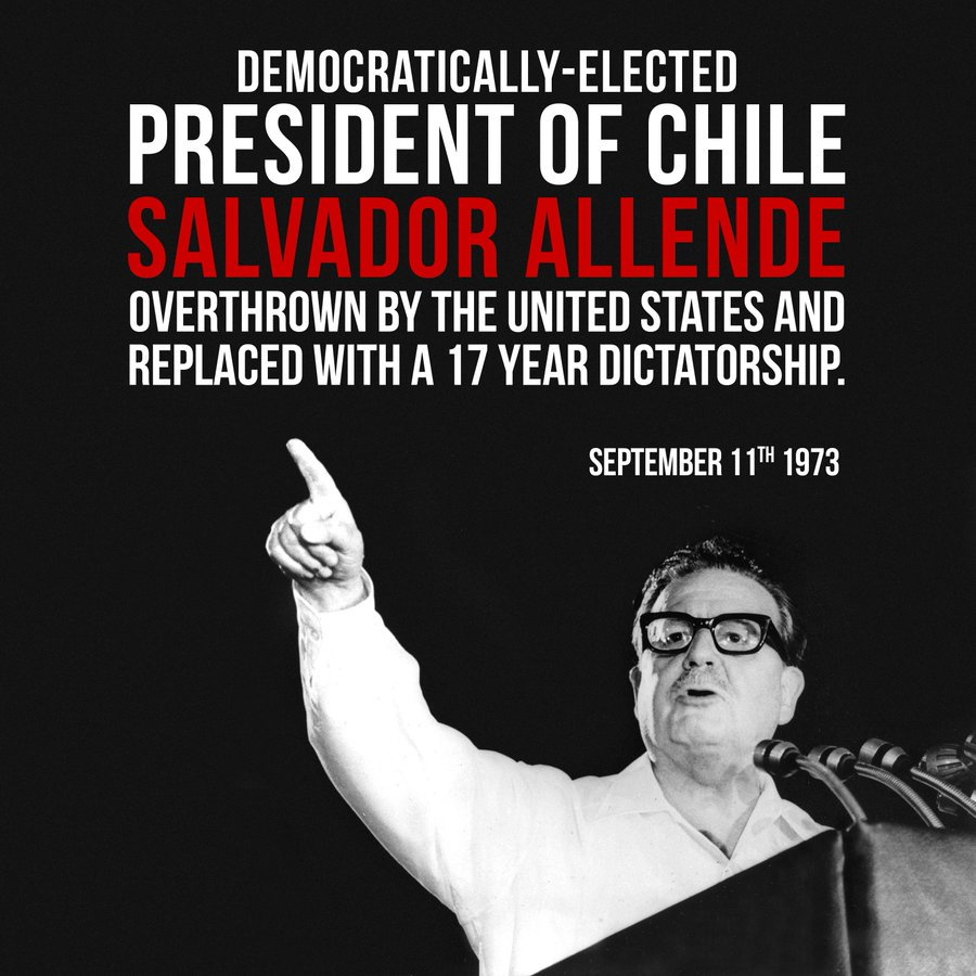 On this day, 46 years ago, Salvador Allende was overthrown in a CIA-backed coup in Chile. It was a calamity that led to a 17 year-long dictatorship, with thousands of socialists and their families being 'disappeared' or forced into exile. We must never forget. #AllendeVive<br>http://pic.twitter.com/MzMAjenRzE