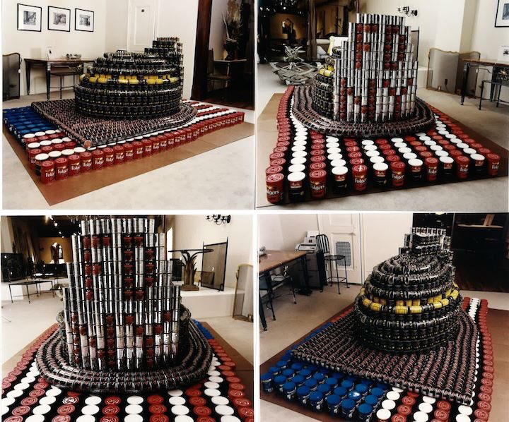 """We will #NeverForget  """"One Can Make a Difference""""  by Silman won the People's Choice Award in the November 2001 NYC Competition with this #canstruction of a firefighter helmet on an American flag.  #OneCanMakeADifference #FDNY #Honor911<br>http://pic.twitter.com/0KkVEc2n7h"""