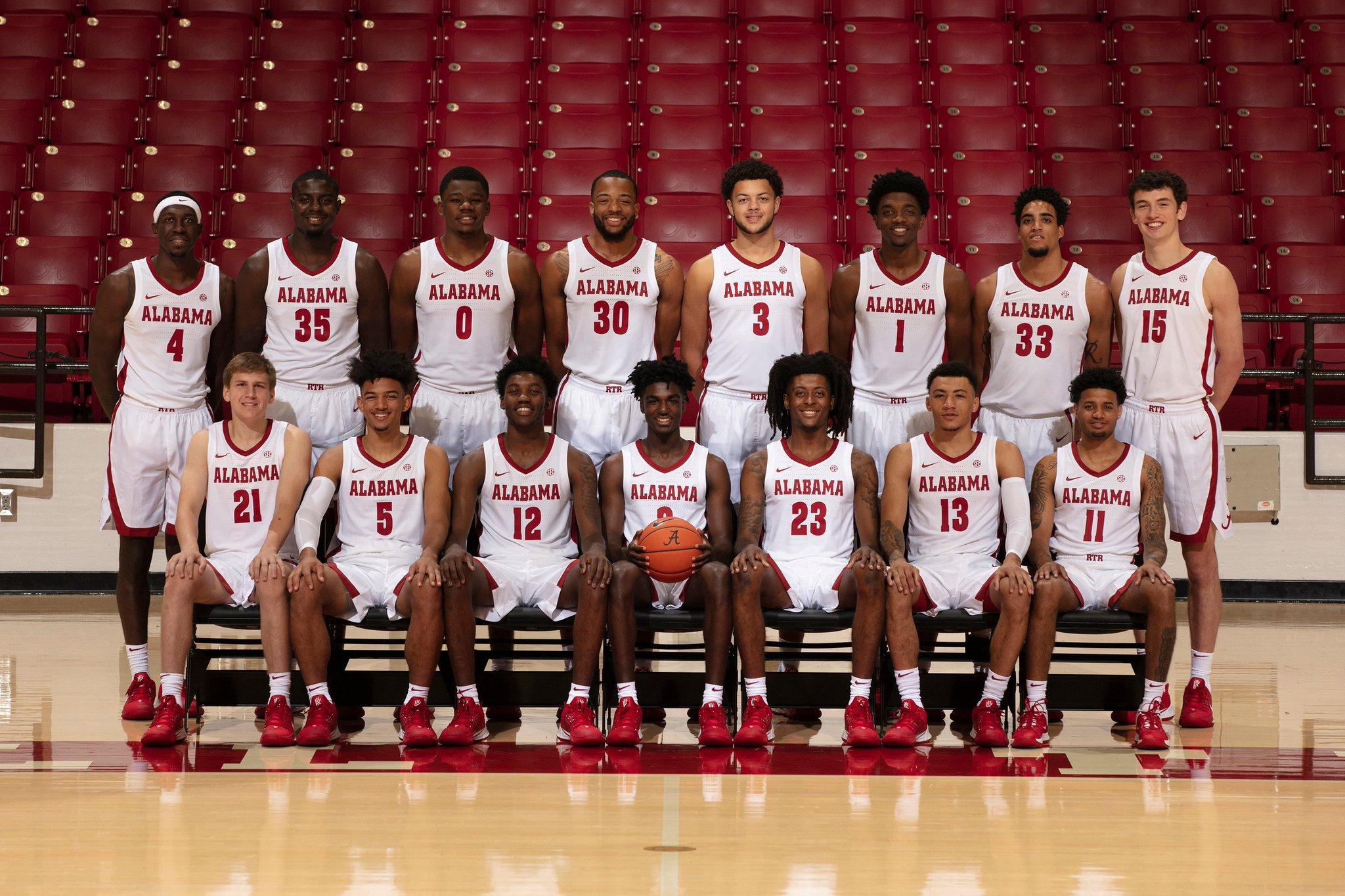 Alabama Crimson Tide NCAA Basketball: One Team. One Family.  Your 2019-20 @AlabamaMBB squad‼️   #Roll.  Tweet by @AlabamaMBB