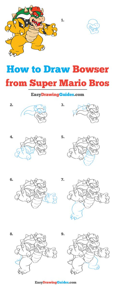 Easy Drawing Guides On Twitter Bowser From Super Mario