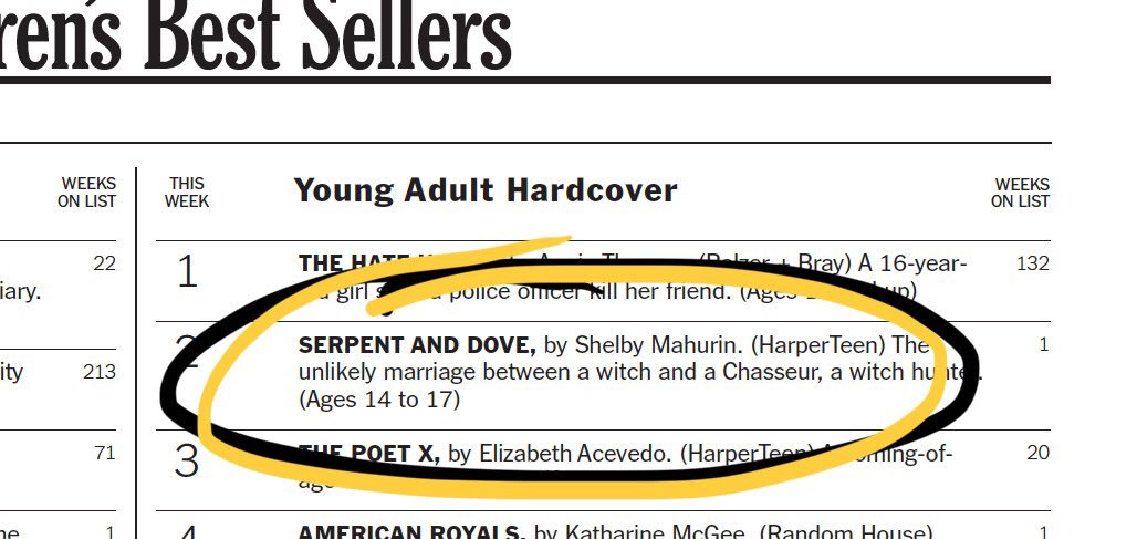 A DARK AND DAZZLING DEBUT INDEED, CONGRATULATIONS TO THE INSTANT BESTSELLER SERPENT AND DOVE!!! ✨🕊