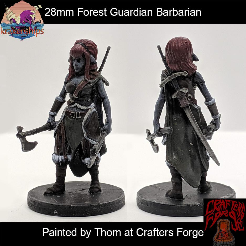 Our Forest Guardian Barbarian mini painted by @Crafters_Forge #krakenminis #miniatures #dnd #dungeonsanddragons #paintedminiatures #tabletopgaming #barbarian #greataxe #fantasyminiatures