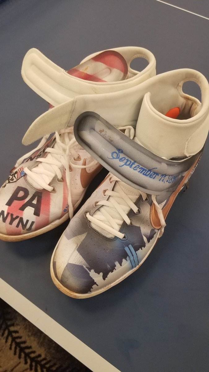 """Here are the custom-made spikes Pete Alonso had made up for his Mets teammates to honor the servicemen and women at Ground Zero.""""I don't just want to be known as a good baseball player,"""" Alonso said. """"I want to be known as a good person, too."""""""